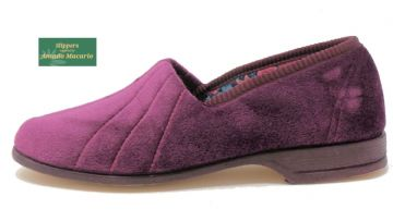 AUDREY' Ladies Velour Slippers with Rubber sole HEATHER